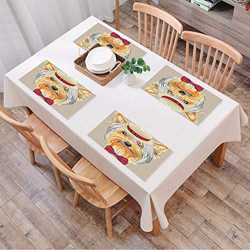 Set de Table Antidérapant Lavable Résiste à la Chaleur Rectangulaire Sets de Table pour Restaurant,Yorkie, hipster Yorkie avec joli cana,Table à Manger en Cuisine ou Salle à Manger, 45x30 cm Lot de 4