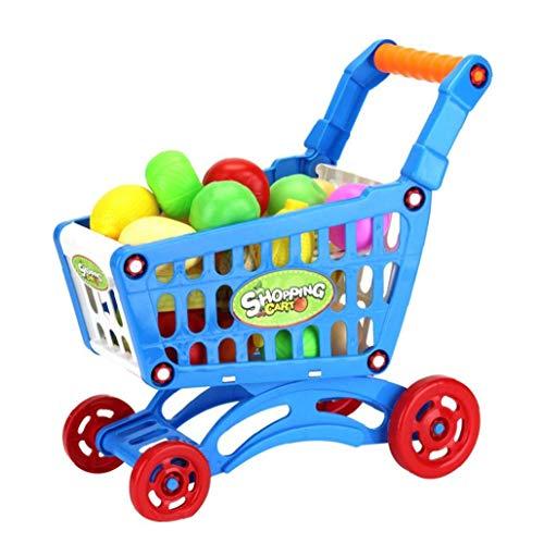 tJexePYK Mini Carretilla Conjunto de Juguete 17pcs plástico ABS supermercado Compras Juguete con Artificiales Frutas Hortalizas y la Alimentación pretendo Jugar Juegos en Azul