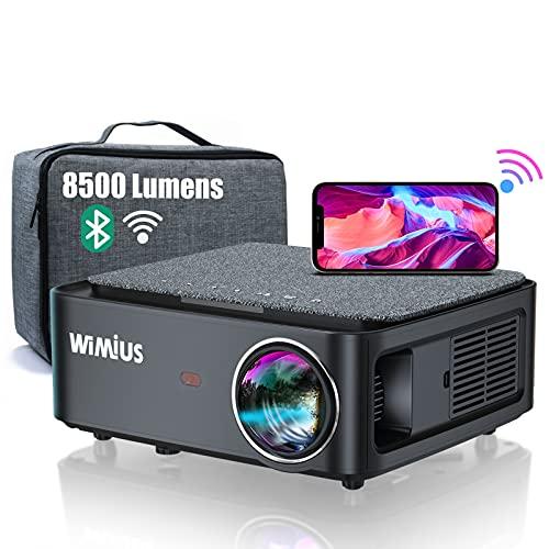 Proyector WiFi Bluetooth Full HD 1080P, 8500 Lúmenes WiMiUS Proyector WiFi Bluetooth 1080P Nativo Soporte 4K Ajuste Digital 4D Función de Zoom Proyector WiFi Cine en Casa Para PPT,PS4,TV Stick,etc.
