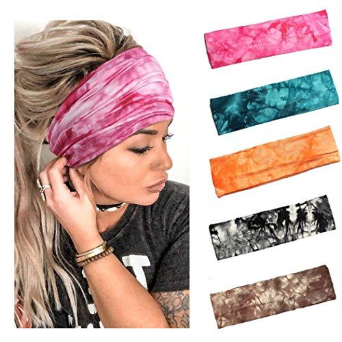 Yean Boho Yoga elastische Stirnbänder, Batik-Druckmuster, Kopfbedeckung, breit, atmungsaktiv, Turban, Sport, Fitnessstudio, Haarbänder für Damen und Herren (5 Stück)