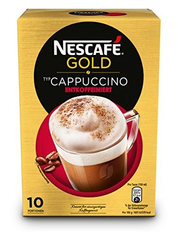 NESCAFÉ Gold Typ Cappuccino Entkoffeiniert, Instant-Kaffeemischung aus erlesenen Kaffeebohnen, ohne Koffein, extra viel Schaumung (1 Packung, 10 x 12,5 g Sticks)