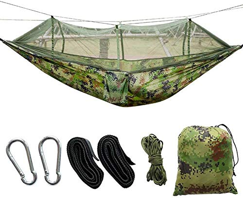 ODODDE Double Camping Camouflage Hammock, with Mosquito Nets Camping Hammock, Can Be Used for Outdoor Wind, Mosquito, Swing Bed