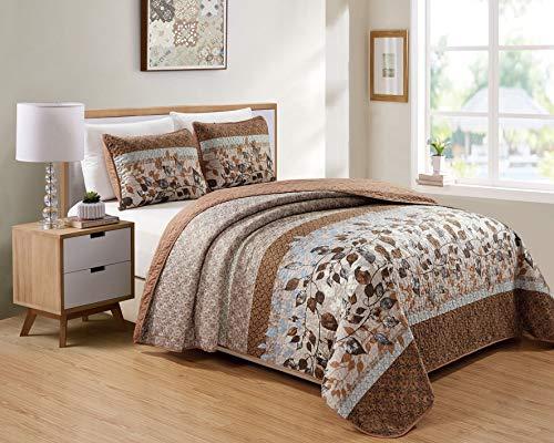 Kids Zone Home Linen Bedspread Set Brown Tan Sky Blue Leaves White New (King/California King)