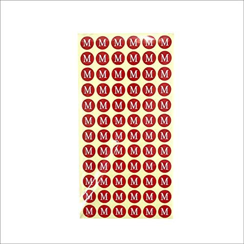 サイズシール M サイズ 業務用 大きさ=直径1.4cm 赤地に白文字 1シートに72枚のシールが15シート(1080枚分)入り 仕分け 梱包 ラベル 服 表示 アパレル サイズ表示 size フリマ ラクマ イベント アパレル 店舗出店 在庫管理 ディス