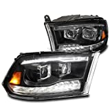 ZMAUTOPARTS LED DRL/Turn Signal Dual Projector Headlights Black For 2009-2018 Dodge Ram 1500/2010-2018 2500/3500