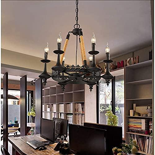 HLY Candelabro simple, lámpara colgante, luz de techo, lámpara de techo, cuerda de cáñamo, vela de granja, colgante de techo industrial, metal, colgante vintage, rústico, para cafetería, bar, comedor