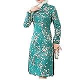 N\P Vestidos Verdes Mujeres Vestido Chino De La Boda Qipao Vestidos De Túnica Chinoise Qi Pao Otoño Invierno Grueso Fondo Vestido
