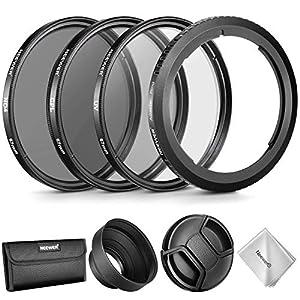 Neewer Kit Accesorios Lentes para Canon PowerShot SX530 HS,SX520 HS,SX60 HS,SX50 HS,SX40 con:Anillo Adaptador de Filtro+Conjunto Filtros 67mm(UV/CPL/ND4)+Capucha de Goma+Tapa+Bolsa