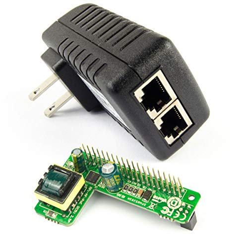 DSLRKIT Gigabit Poe Kit (12.5watt Poe Hat + Gigabit Poe Injector) Power Over Ethernet for Raspberry Pi 4 4B 3B+ 3B Plus