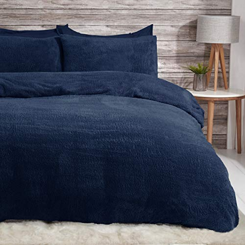 Sleepdown Teddy Fleece Navy Thermal Warm Cosy Super Soft Duvet Cover Quilt Bedding Set with Pillowcases - Double (200cm x 200cm)