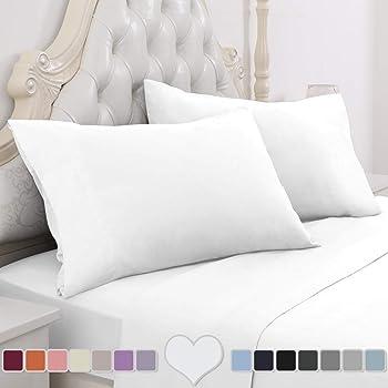HOMEIDEAS 4 Piece Bed Sheet Set (Queen, White) 100% Brushed Microfiber 1800 Bedding Sheets - Deep Pockets
