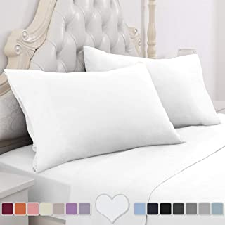 HOMEIDEAS 4 Piece Bed Sheet Set (Queen, White) 100% Brushed Microfiber 1800 Bedding Sheets - Deep Pockets