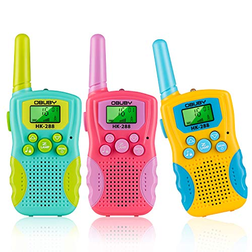 Toys for 3 4 5 6-12 Year Old Boys Girls,Obuby 3 Pack Walkie Talkies for Kids 3 KMs Long Range 2 Way Radio 22 Channels with Backlit LCD Flashlight Best Gifts for Girls Boys Outdoor Camping Game