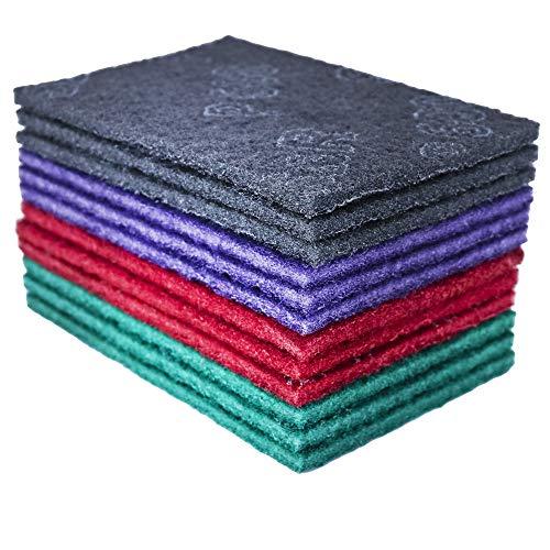 S&R Schleifvlies-Pads 150 x 230 mm, Set aus 12 Schleifvlies-Matten, Satz mit je 3 Stück P180, P320, P600, P800, zum Schleifen, Polieren von Metall, Holz, Stahl, Edelstahl