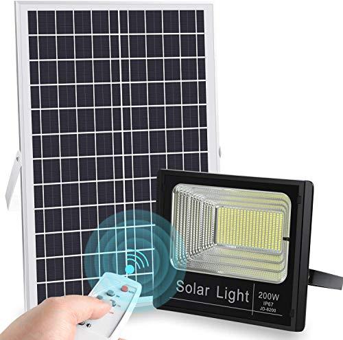 LEDMO Faro LED da Esterno 200W con Pannello Solare Faro Solare LED Esterno con Telecomando 6500k Impermeabile IP67 Pannello LED Solare Fotovoltalco Energia