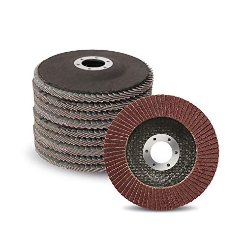 10-Pack 4-1/2-Inch Flap Discs for Removing Paint and Rust   80 Grit Sanding Grinding Wheels, Type #27   Compatible with 4.5