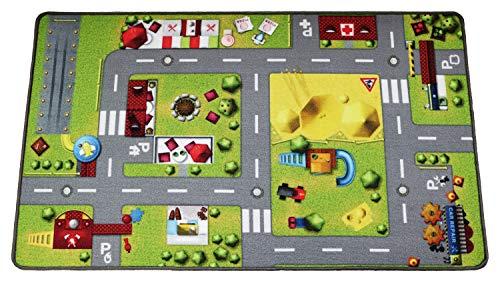 HuggyPlay Spielteppich Kinderteppich, Motiv Stadt, 90 x 150 cm