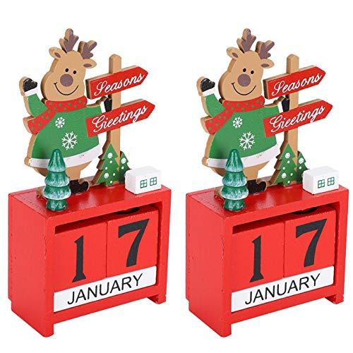 Calendario de Navidad, Decoración de calendario de Navidad, Calendario de fecha Artesanías de madera decorativas rojas para la sala de estar Regalo Adornos de escritorio Decoración del hogar