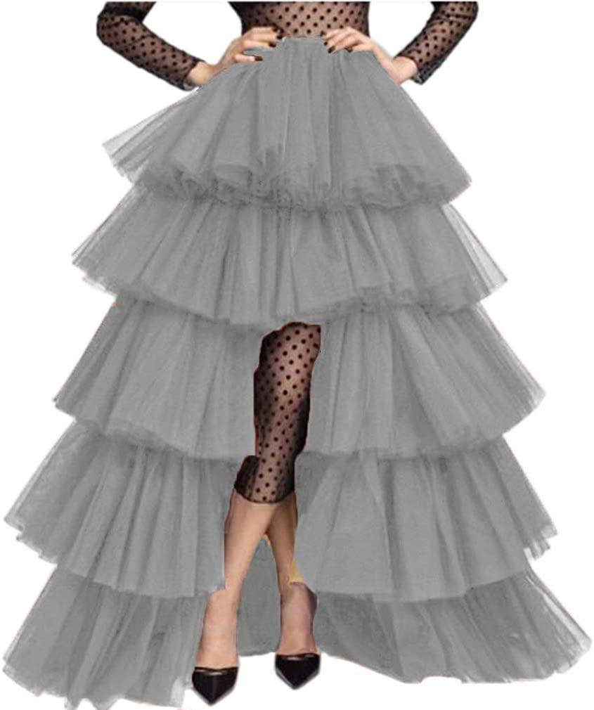 Lisong Women's Wedding High Low Puffy Layered Tulle Asymmetrical Night Out Skirt