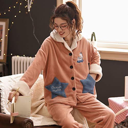 Coral Samt Pyjama Damen sowie samtig Dicke warme Herbst- und Wintermodelle mit Langen Ärmeln zu Hause Service