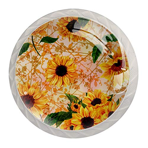 (4 piezas) pomos de cajón para cajones con tiradores de cristal para gabinete, hogar, oficina, armario, amarillo, girasoles, hojas verdes, 35 mm