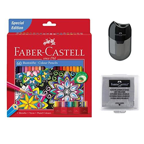 Faber-Castell Buntstift Castle, 60er Kartonetui (60 Stifte + Knetradierer + Spitzer)