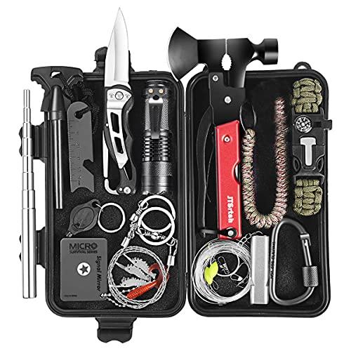 Survival Kit 30 in 1, Außen Notfall Survival Kit mit Klappmesser, Multifunktionswerkzeug für Camping, Wandern, Jagden, Outdoor Abenteuer, Geschenke für Mann