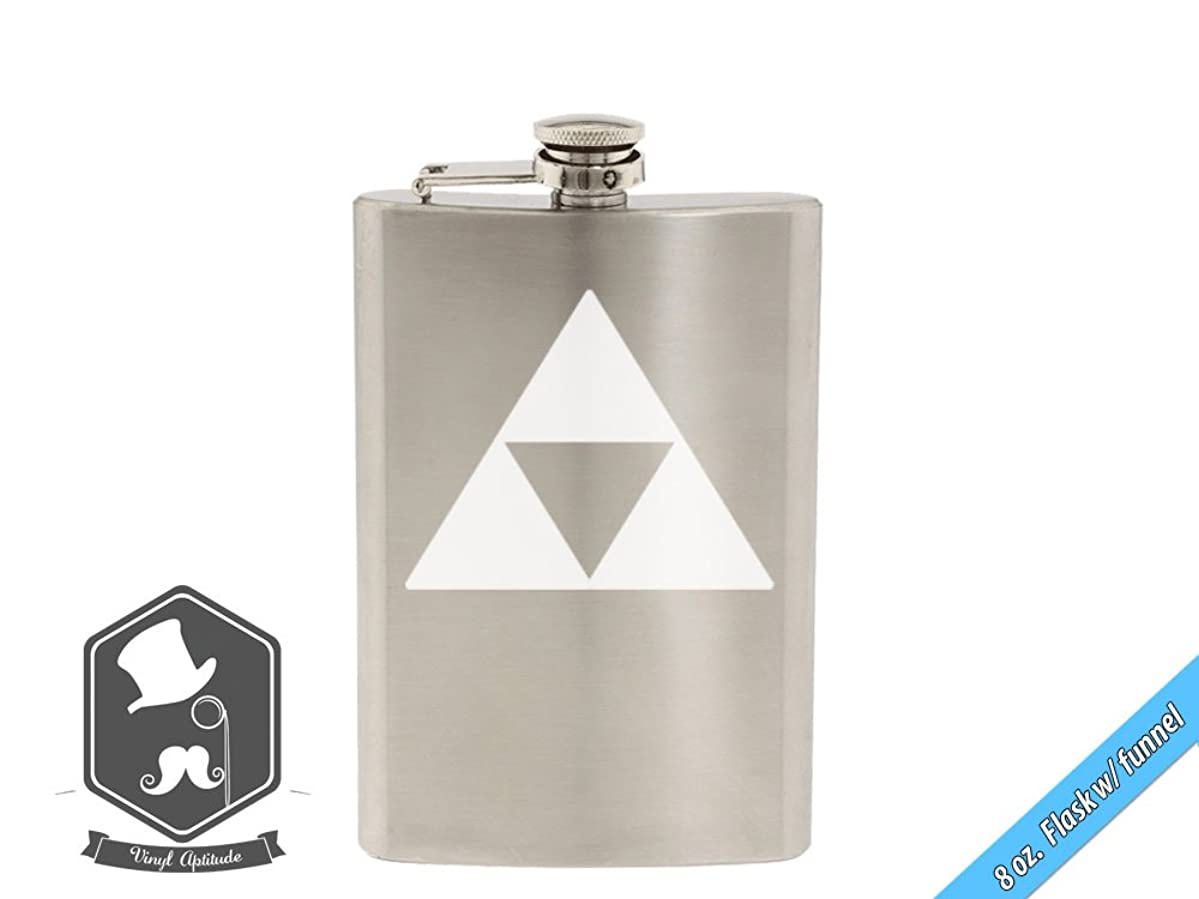 Zelda Video Game Inspired Triforce Link Art 8 OZ Hand-made Etched Stainless Steel Hip Flask with Funnel