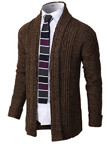 H2H Mens Casual Slim Fit Open Front Cardigan Lightweight Long Sleeve Brown US M/Asia L (CMOCAL046)