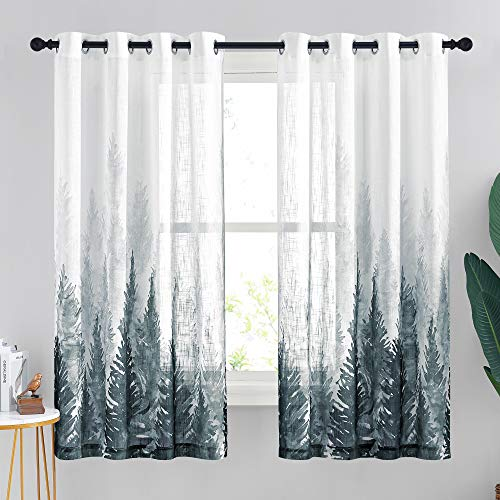 StangH Ombre Sheer Curtains Linen Curtains Natural Forest Tree Patterned Semi Sheer Drapes Light Filtering Privacy Protect for Kitchen Window, Green & White, Wide 50 by Long 63 inches, 2 Panels