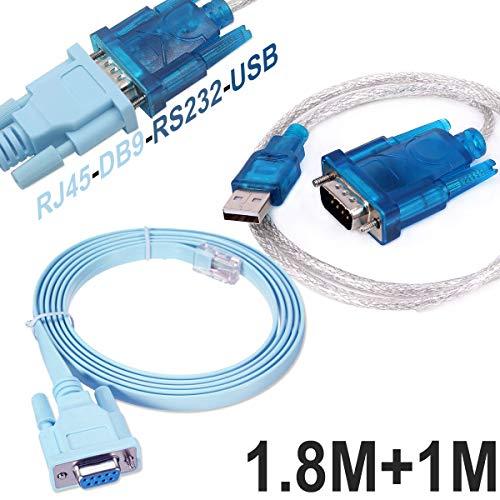 Cisco Konsolen kabel Serielles Kabel Rj45 auf DB9 & RS232 auf USB (2 In 1) Für Cisco Gerät 1M +1.8M