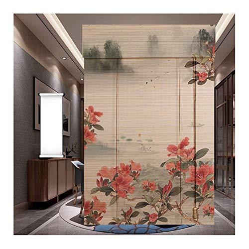 GDMING-Bambusrollo Bambusvorhang Klassik Blumen Schnurgebunden Fenster Rollos Hölzern Innen Vorhang Lichtfilterung Schatten Privatsphäre Drapieren,44 Größen (Color : A, Size : 100x200cm)