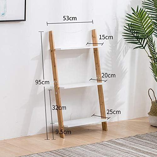 Bücherregale CJC Wand Leiter 3 5 Tier Bambus Anlehnen Einheit Gestell Anzeige Halter Stand (Größe   53  95CM)