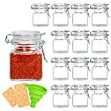 Spice Jars, LEQEE 14 Pack 4oz Small Glass Jars with Airtight Hinged Lid for Spices, Condiments Herb Seasoning Art Craft Storage-14 Spice Labels and Silicone Collapsible Funnel Included