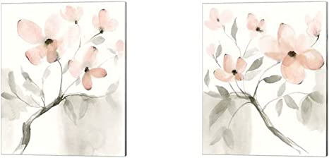 Amazon Com Dogwood Dream By Jennifer Goldberger 2 Piece Canvas Art Set 12 X 15 Inches Each Floral Art Posters Prints