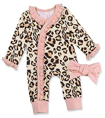 Newborn Baby Girl Clothes Leopard Floral Romper Jumpsuit Onesies with Floral Headband 2Pcs Outfits Set Cotton Clothes Set 3-6 Months