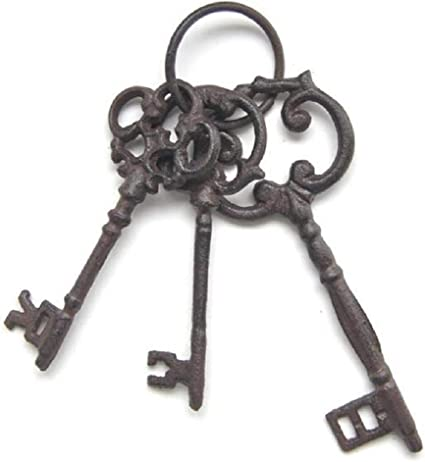 tama/ño grande hierro fundido estilo vintage antiguo Juego de tres llaves de carcelero de hierro fundido en anillo