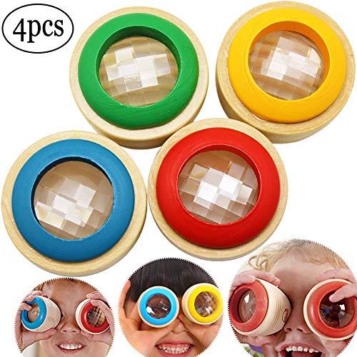SWZY Caleidoscopio de Madera- Mágico Caleidoscopio Prism Juguete de educación para el Aprendizaje de los Enfants, 4 Piezas (Color Aleatorio)