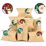 CHEPL Caja de Almohada 24 Piezas Caja de Regalo de Papel Kraft Caja de Dulces con Pegatinas y Cuerda para Boda Fiesta de Cumpleaños