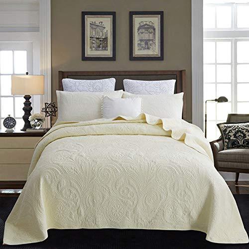 Colchas acolchadas de algodón Bordado Colcha de color sólido y 2 fundas de almohada 91x98 pulgadas Juegos de ropa de cama súper suaves de 3 piezas Sábana de microfibra de retazos,Beige,230*250CM