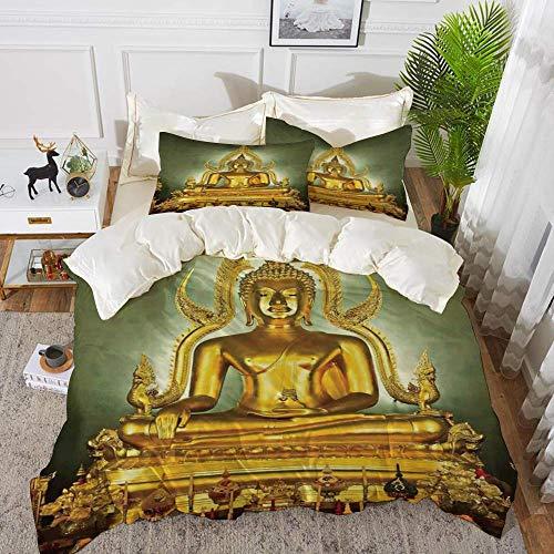 Qoqon bedding - Duvet Cover Set,Asian Decor,Golden Statue on Throne Nirvana Pray Indian Classic Art ative Image,Golde,Hypoallergenic Microfibre Duvet Cover Set with 2 Pillowcase 50 X 75cm