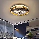 LED ventiladores de techo con luz silenciosos y mando infantil ventilador de techo silencioso led lampara ventilador techo dormitorio de matrimonio 46CM*14CM 36W,Oro
