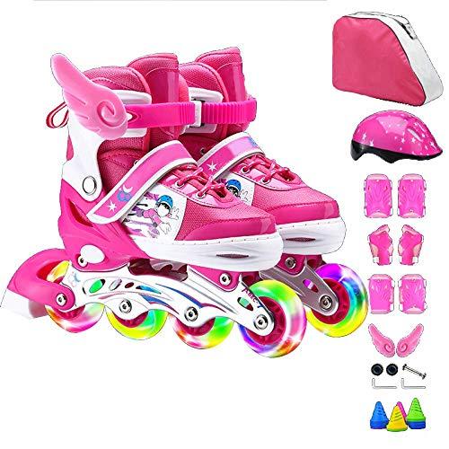 AYLS Inline Skates Kinder Rollschuhe Set Anfänger Einstellbare Größe Mädchen Jungen Kinder Männer Frauen Kind Rollerblades Senden Schutzausrüstung Schlittschuhe,Pink,S