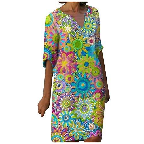 GOKOMO Kleider Damen Sommer V-Ausschnitt Print 3/4 Ärmel knielangen Freizeitkleider Casual Strandkleider Lose Minikleider