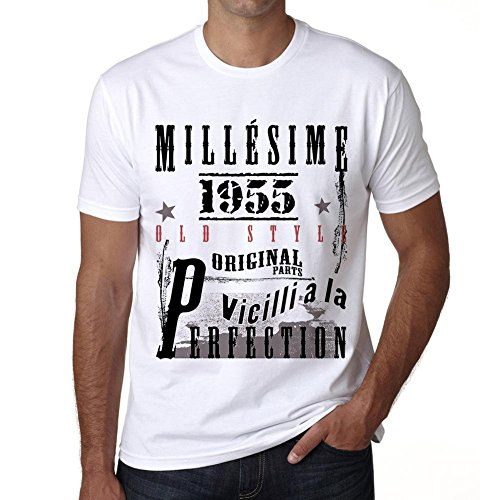 One in the City 1955,Cadeaux,Anniversaire,Manches Courtes,Blanc,Homme T-Shirt, Blanc, M