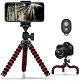 Mobile Phone Tripod, Portable and Flexible Camera Tripods Mini Stabilizer Lightweight Stand Holder with Wireless Selfie Remote Shutter Compatible with iPhone/Android Samsung,Red