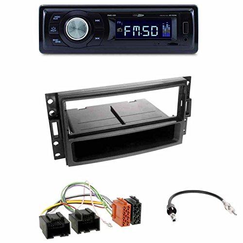Radioeinbauset : Autoradio Caliber RMD021 USB/Micro-SD/FM-Tuner/AUX-IN + Radioblende + Fach schwarz + ISO-Adapter + Antennenadapter DIN für Chevrolet Corvette 2005-07 • + Uplander 2005-08