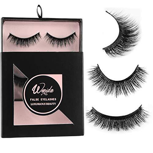 False Eyelashes Wenida 3 Pairs Professional Handmade Reusable 3D Dramatic Soft Fluffy Deluxe Fake Eyelashes Set