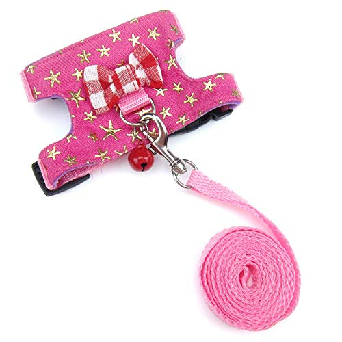 Wontee Small Pet Harness Vest and Leash Set with Bowknot and Bell Decor for Gerbil Guinea Pig Squirrel Kitten Outdoor Walking (S, Pink Star)