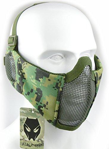ATAIRSOFT Tactical Airsoft CS Schutzmaske aus Nylon mit halbem Gesichtsschutz und Ohrenschutz AOR2